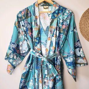 Vintage Floral Cotton Kimono Robe Made in Japan